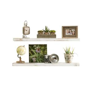 True Floating 5.5 in. x 36 in. x 2 in. White Pine Floating Decorative Wall Shelf with Brackets (Set of 2)