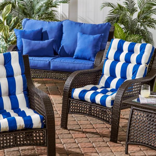 Greendale Home Fashions Cabana Stripe Blue Outdoor High Back Dining Chair Cushion Oc4809 Cabana Blue The Home Depot