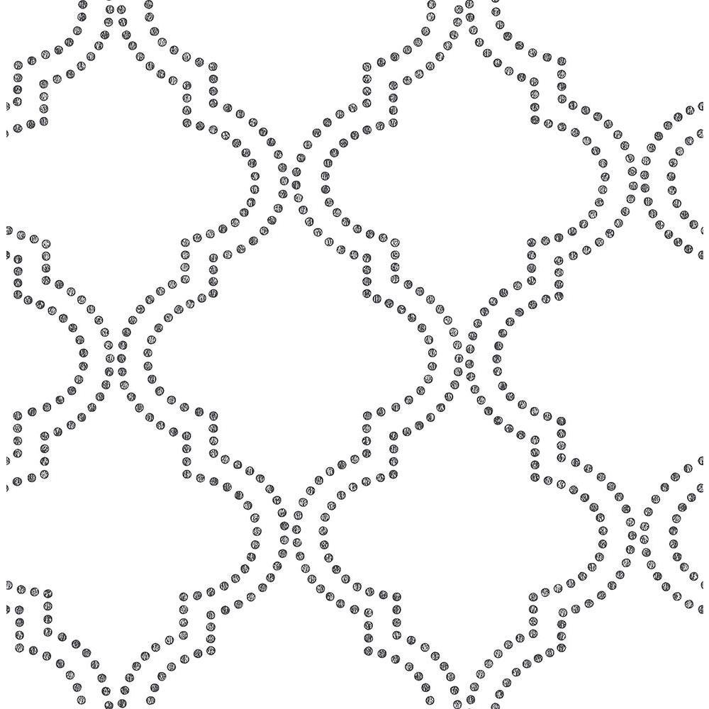 Tetra Black Quatrefoil Black Wallpaper Sample