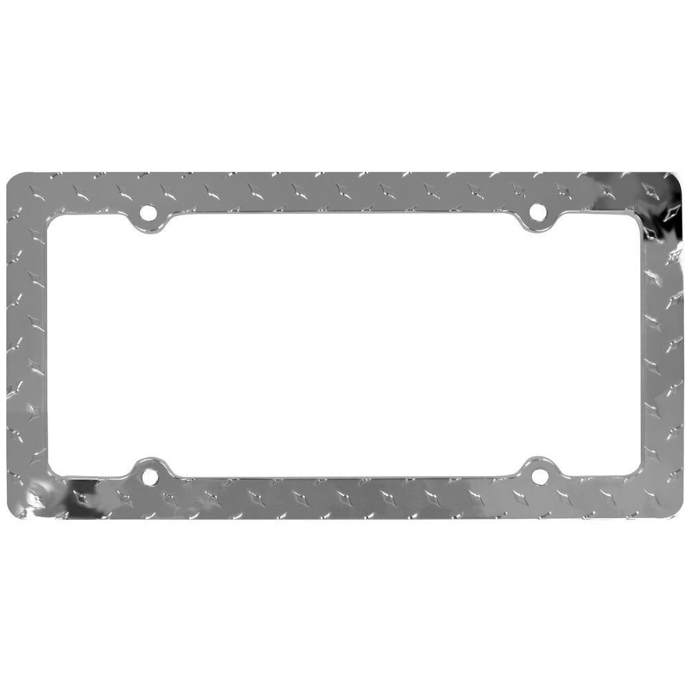 Chrome Metal Diamond Plate License Plate Frame