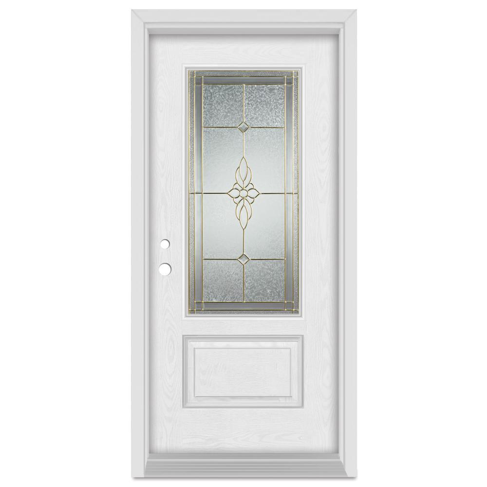 Stanley Doors 37.375 in. x 83 in. Victoria Right-Hand 3/4  sc 1 st  Home Depot & Stanley Doors 37.375 in. x 83 in. Victoria Right-Hand 3/4 Lite Brass ...