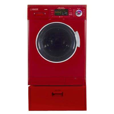 1.57 cu. ft. 23.5 in. High -Efficiency Vented/Ventless Electric All-in-One Washer Dryer Combo with Pedestal in Merlot