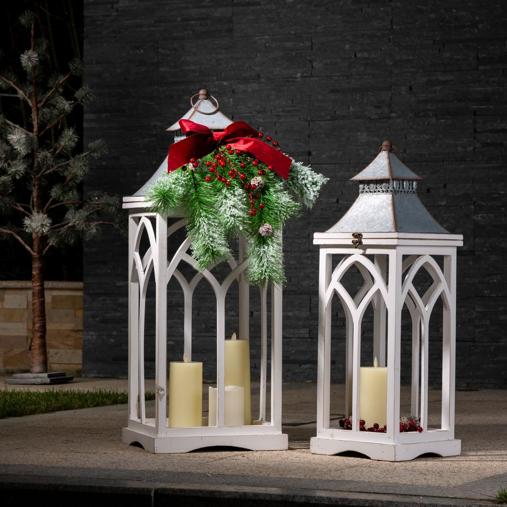 Farmhouse Multi-Color Wood/Metal Lanterns (Set of 2)