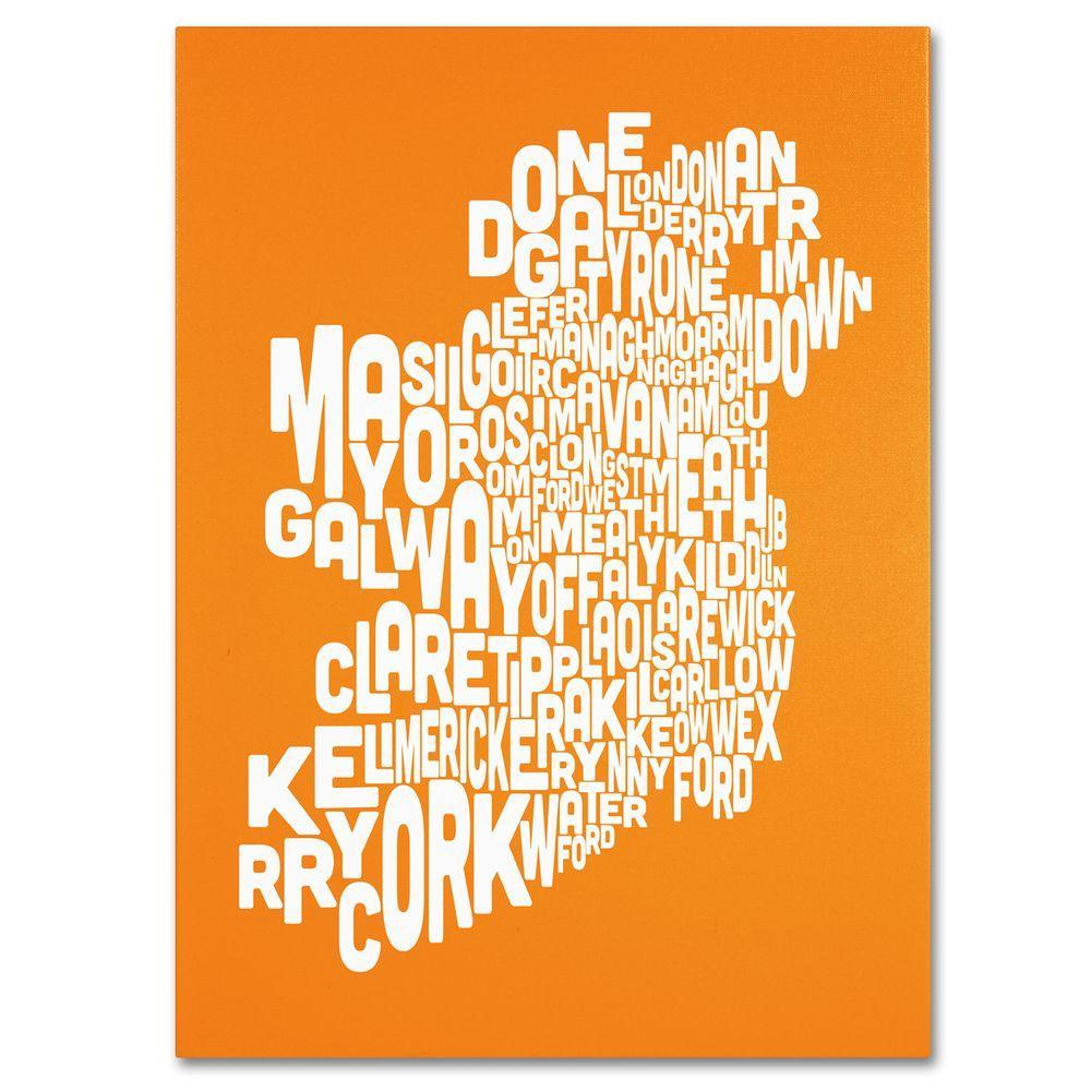 18 in. x 24 in. Ireland Text Map - Orange Canvas