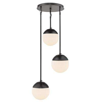 Dixon 3-Light Pendant in Black with Opal Glass and Black Cap