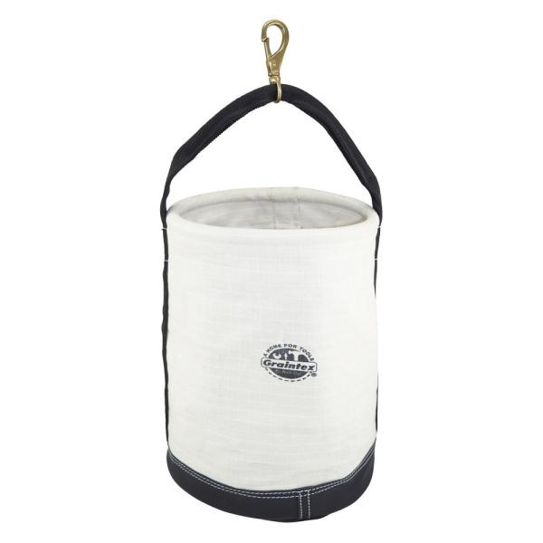 12 in. 1-Pocket Utility Tool Bucket in White with Hook