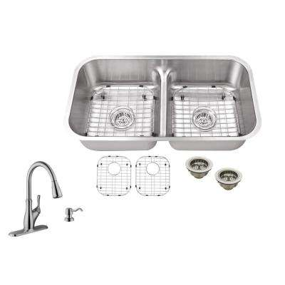 Undermount 33 in. 18-Gauge Stainless Steel Kitchen Sink in Brushed Stainless with Gooseneck Faucet