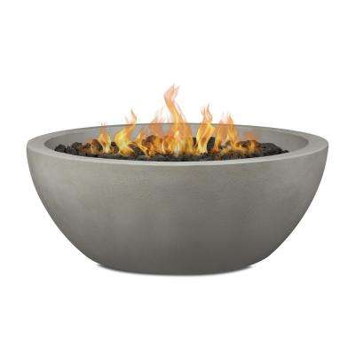 Pompton 42 in. Round Concrete Composite Propane Fire Pit in Shade with Vinyl Cover