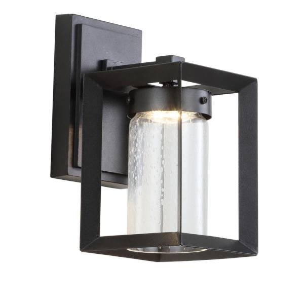 Nate Medium 9.7 in. Black Integrated LED Outdoor Modern Cube Bubble Glass/Metal Sconce
