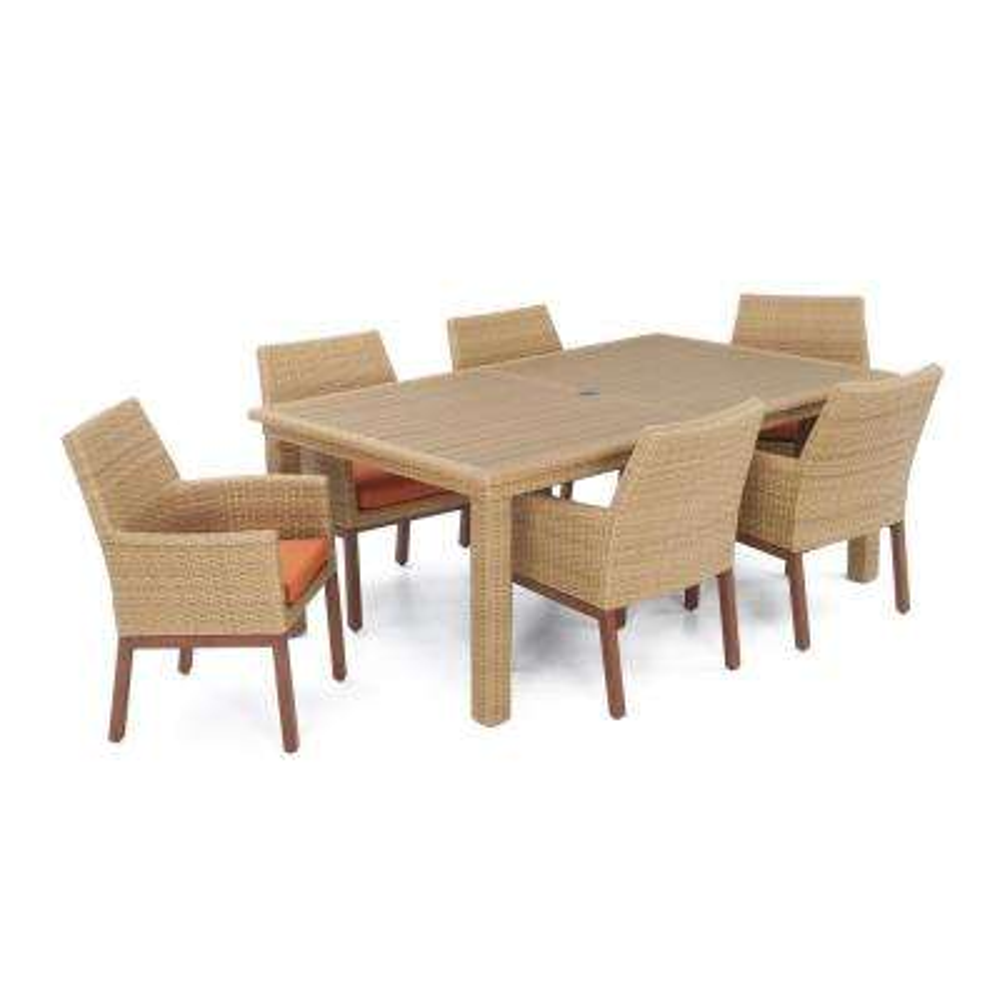 Mili 7-Piece Wicker Outdoor Dining Set with Sunbrella Tikka Orange Cushions