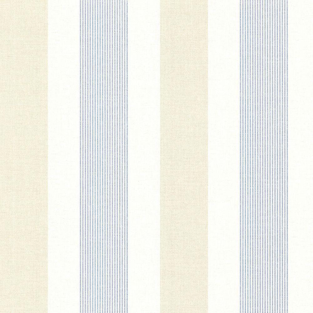 Diane Blue Stripe Wallpaper Sample