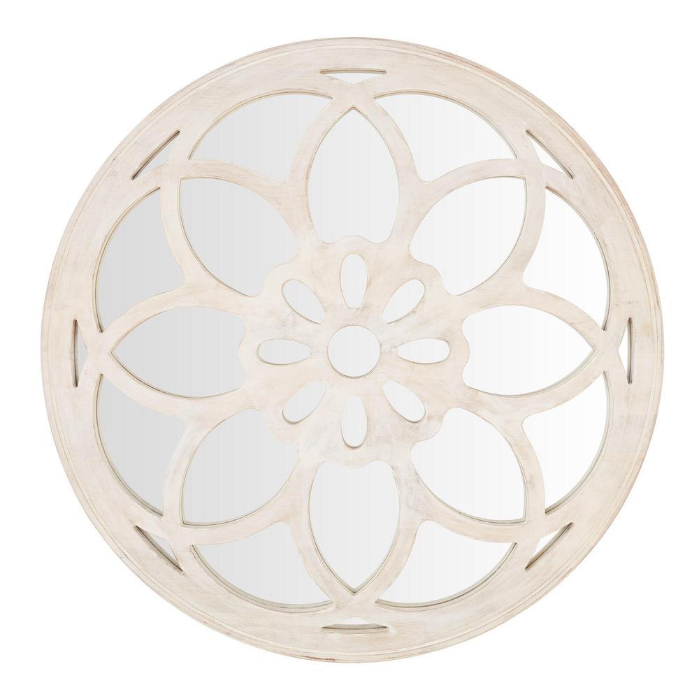 Home Decorators Collection Medium Round White Antiqued Classic Accent Mirror (40 in. Diameter) was $319.0 now $159.7 (50.0% off)