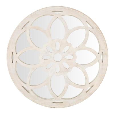 Medium Round White Antiqued Classic Accent Mirror (40 in. Diameter)