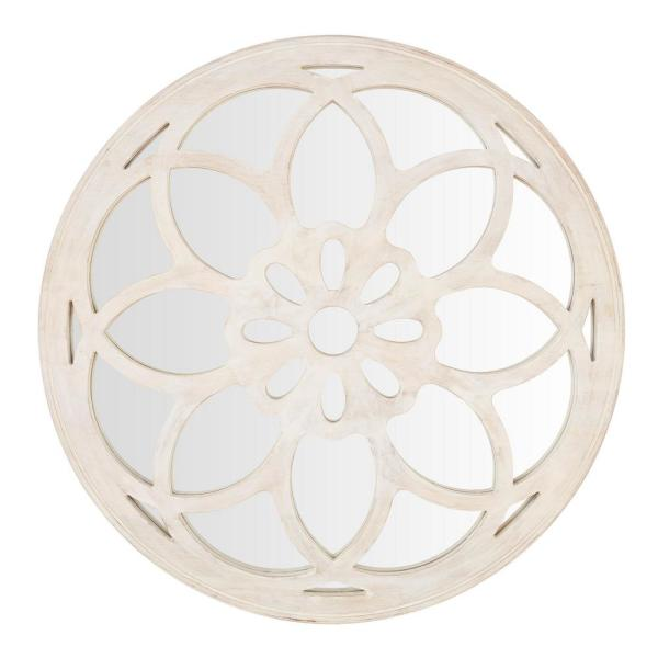 40 in. Diameter Home Decorators Collection Round Framed Antiqued White Accent Mirror with Floral Design