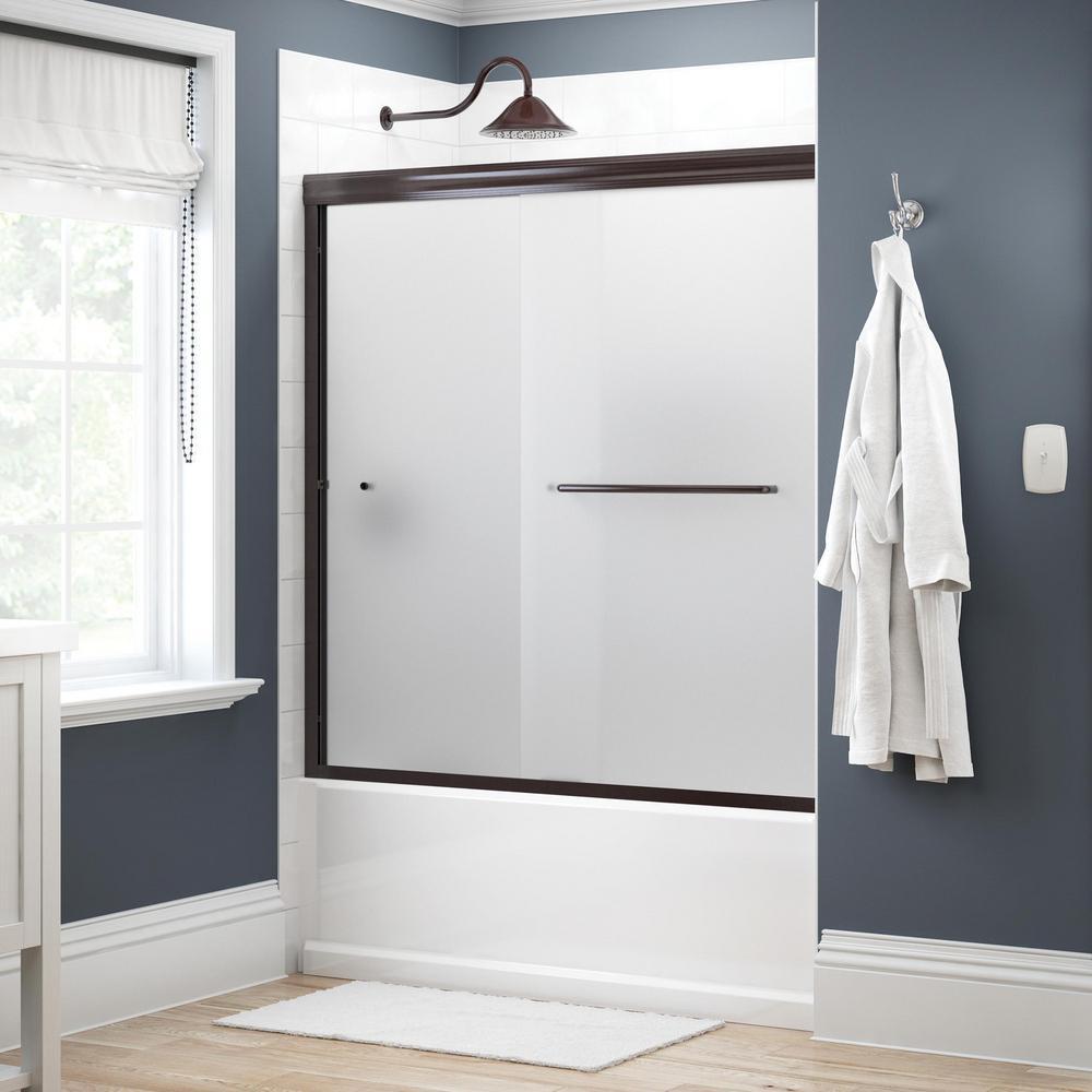 Simplicity 60 in. x 58-1/8 in. Semi-Frameless Traditional Sliding Bathtub Door in Bronze with Niebla Glass