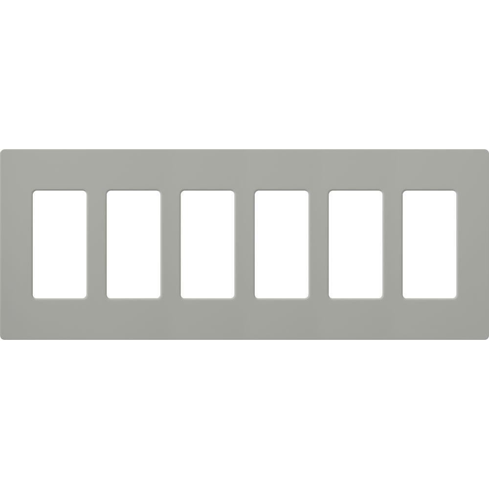 Reviews For Lutron Claro 6 Gang Decorator Rocker Wallplate Gray 1 Pack Cw 6 Gr The Home Depot