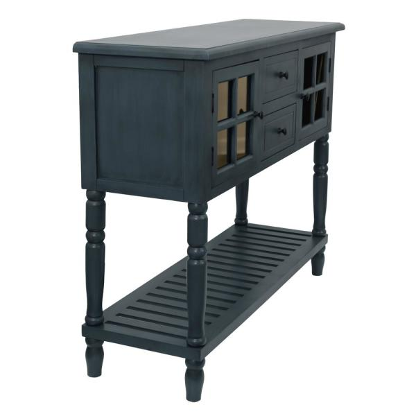 Morgan 42 in. Antique Navy Blue Standard Rectangle Wood Console Table with Drawers