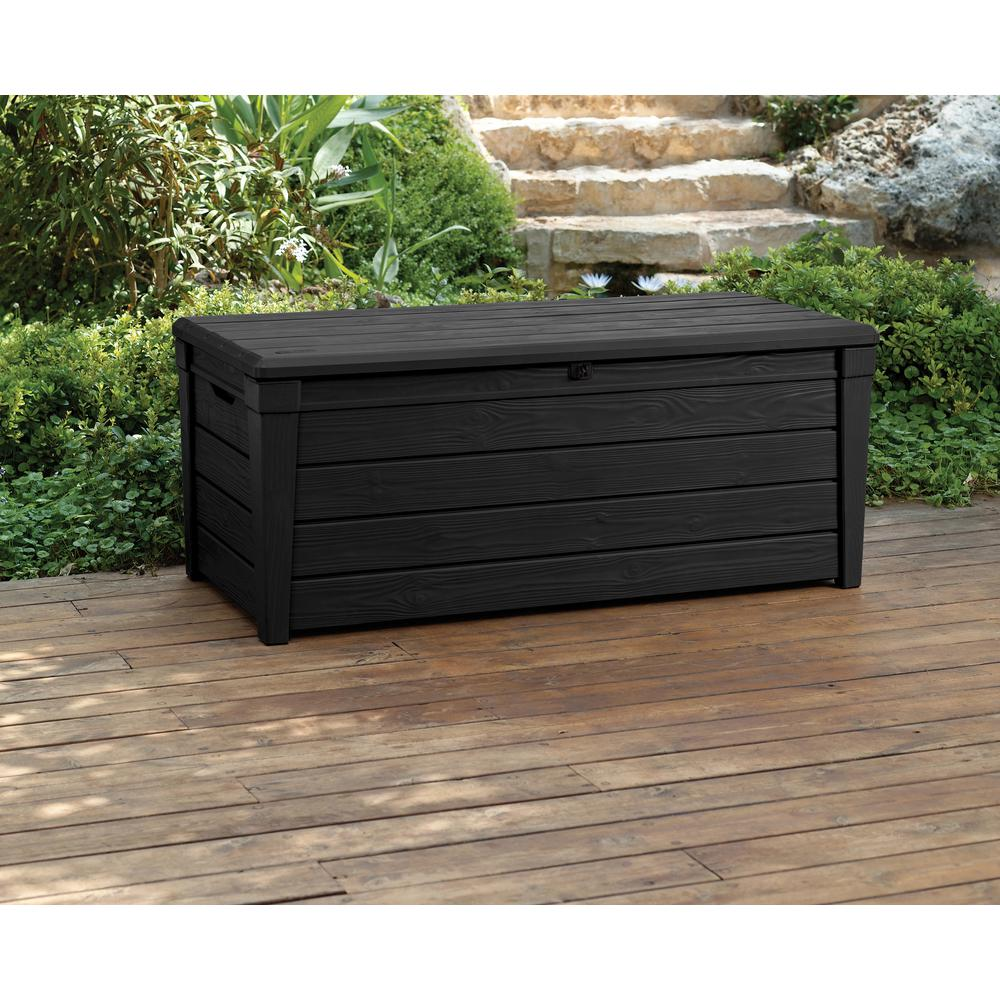 120 Gal Outdoor Black Deck Patio Box Brightwood Lockable