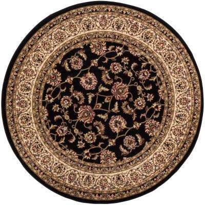 Barclay Sarouk Black 8 ft. Traditional Floral Round Area Rug