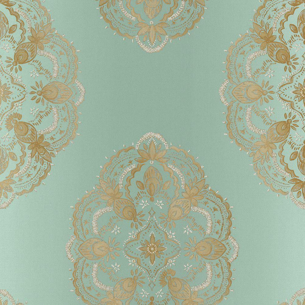 Mirador Aqua Global Medallion Wallpaper Sample