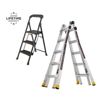Werner 22 Ft Reach Aluminum Telescoping Multi Position Ladder With 300 Lbs Load Capacity Type Ia Duty Rating Mt 22 The Home Depot