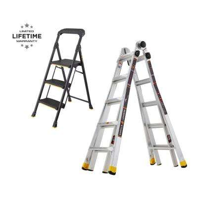 22 ft. Reach Multi-Position and 3-Step Pro-Grade Steel Step Stool (Combo-Pack)