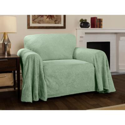 Plush Damask Slipcover Sage Throw Chair