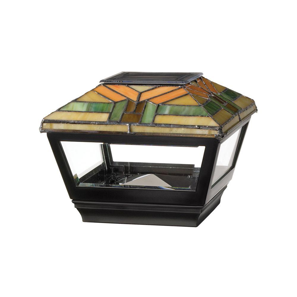 Veranda 4 In X 4 In Vinyl Solar Light Harvest Top Pyramid Post Cap With Black Base 132351