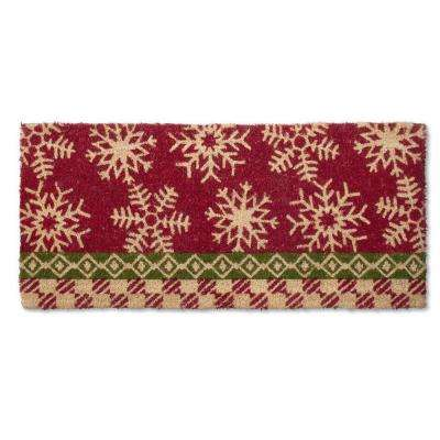 Estate Snowflake 18 in. x 40 in. Coir Mat