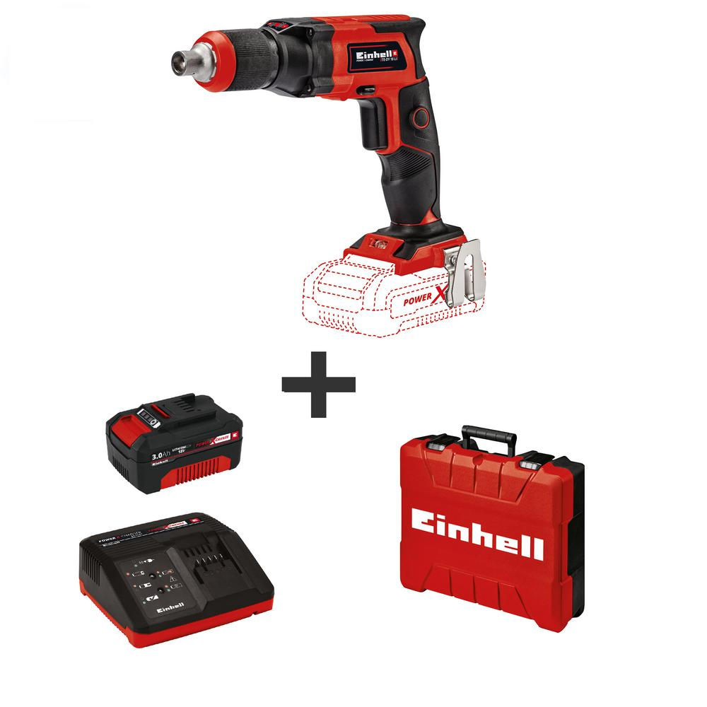 """Einhell PXC 18-Volt Cordless 4000 RPM, 1/4"""" Drywall Electric Screwdriver with E-Box Carry Case (w/ 3.0-Ah Battery + Fast Charger)"""