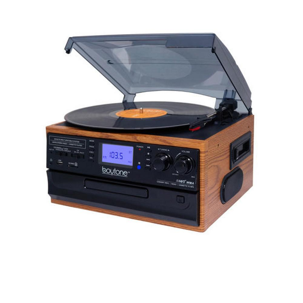 9-in-1 Turntable Stereo System in Walnut