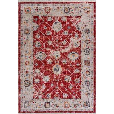 Mirage Red/Cream 5 ft. 3 in. x 7 ft. 6 in. Persian Distressed Traditional Indoor Area Rug