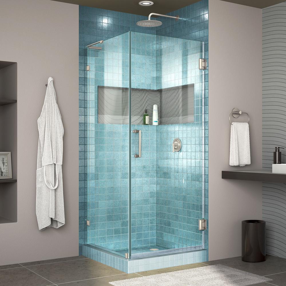 Unidoor Lux 30-3/8 in. x 30 in. D x 72 in. Frameless Hinged Shower Enclosure in Brushed Nickel