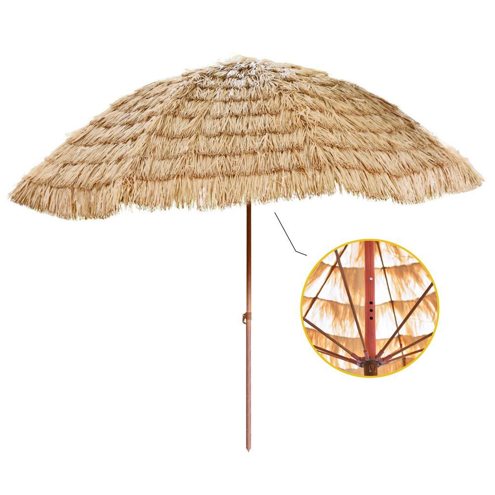 Backyard X-Scapes 9.5 ft. Aluminum Market Hawaiian Style Palapa, Tiki Thatch Beach, Patio Umbrella in Tan