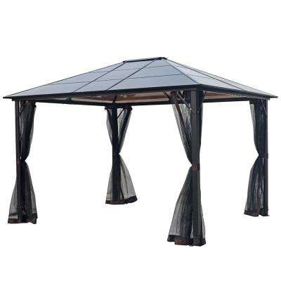 12 ft. x 10 ft. Aluminum Outdoor Patio Gazebo Hardtop with Polycarbonate Roof and Netting