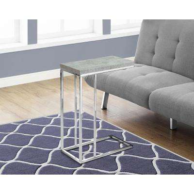 Grey Cement and Chrome Metal End Table
