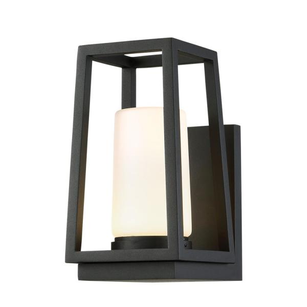 Hurricane 10 in. Black Integrated LED Outdoor Wall Sconce, 3000K