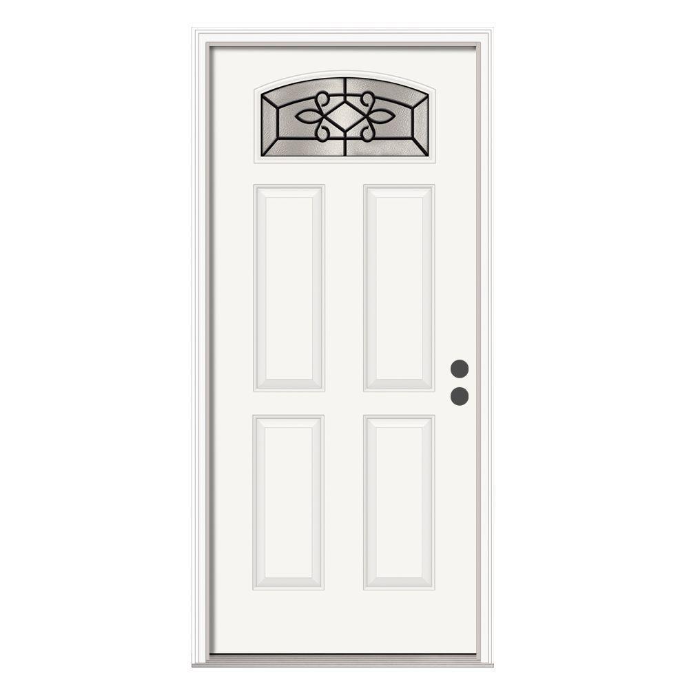 Sanibel Camber-Top Primed White Steel Prehung Front Door with Brickmold
