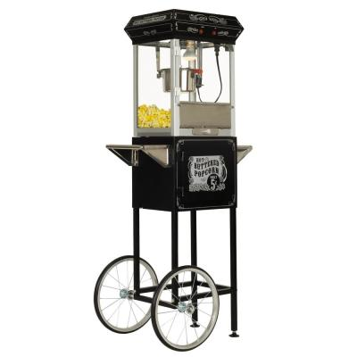 4 oz. Black and Silver Hot Oil Popcorn Machine with Cart