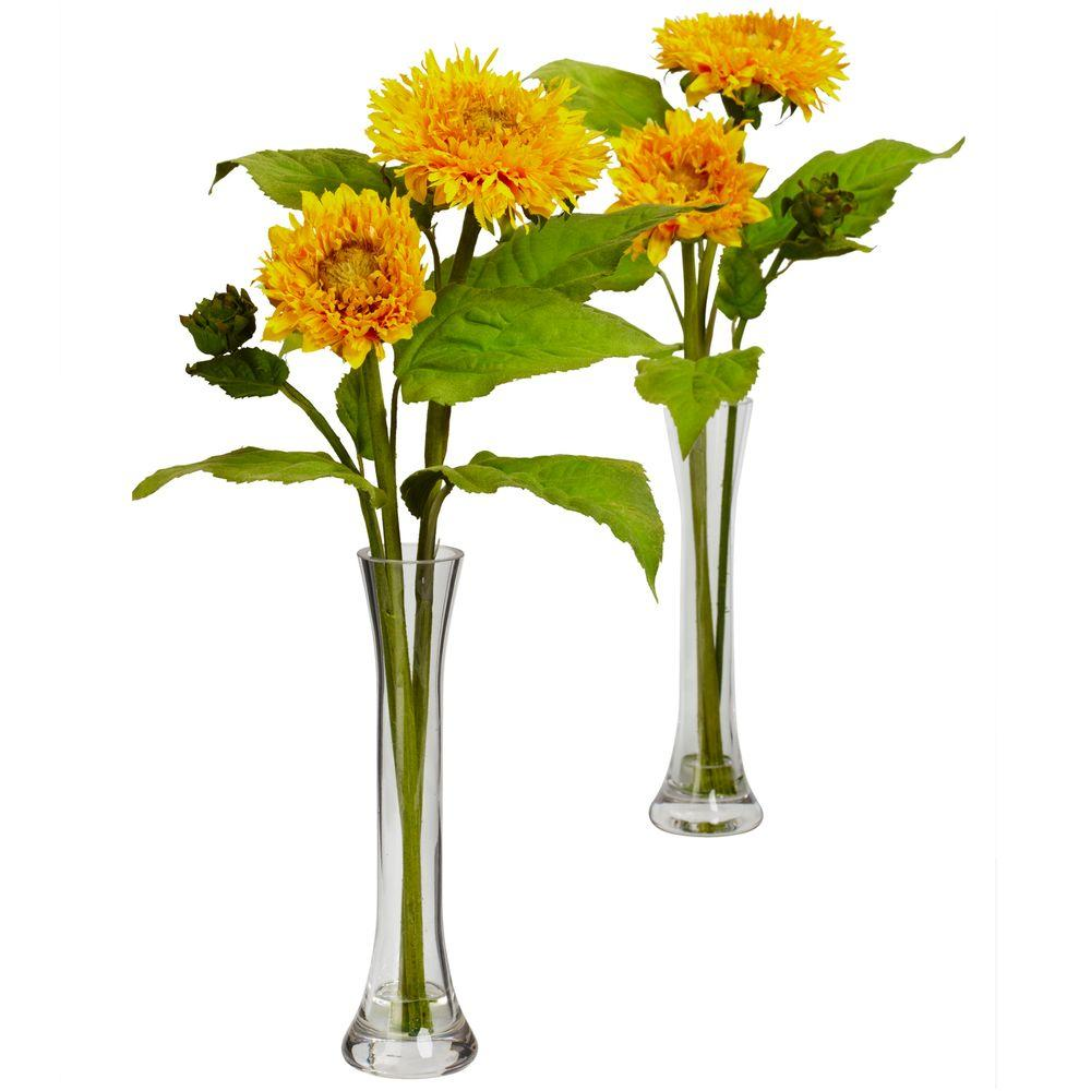 Nearly Natural 16.0 in. H Yellow Golden Sunflower with Bud Vase (Set of 2)-DISCONTINUED