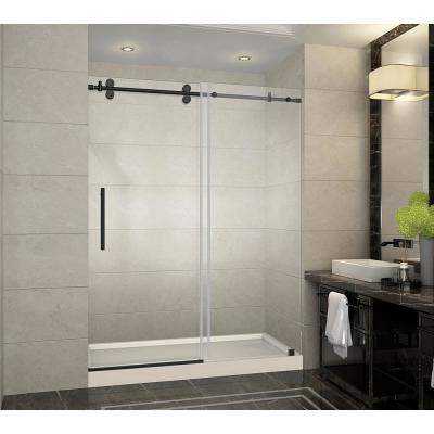 Langham 60 in. x 32 in. x 77.5 in. Frameless Sliding Shower Door in Oil Rubbed Bronze with Right Drain, Shower Base