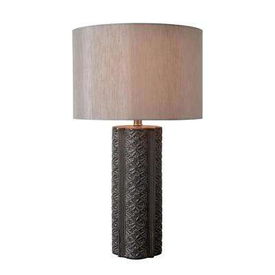 Filigree 27 in. Gray Table Lamp with Gray Linen Shade