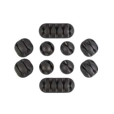 Multipurpose Cable Clips Holders Black 10 Pack