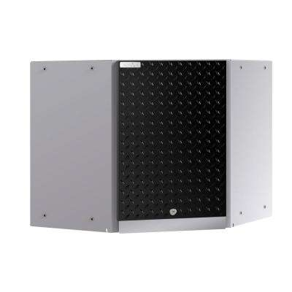 Performance Plus 2.0 Diamond Plate 2.0 24 in. W x 22 in. H x 24 in. D Steel Garage Corner Wall Mounted Cabinet in Black