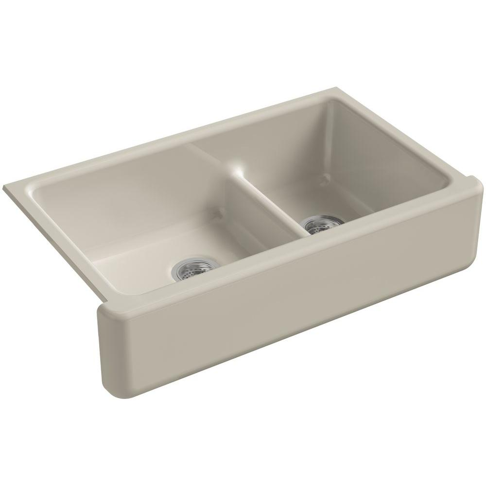 KOHLER Whitehaven Smart Divide Undermount Farmhouse Apron-Front Cast Iron 36 in. Double Bowl Kitchen Sink in Sandbar