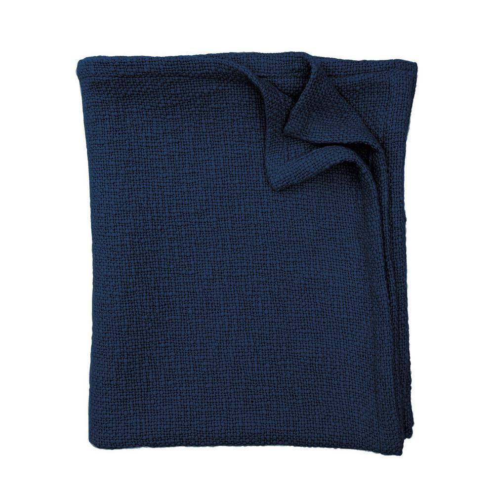 The Company Store Dark Blue Cotton King Cloud Blanket KO51-K-DARK-BLUE