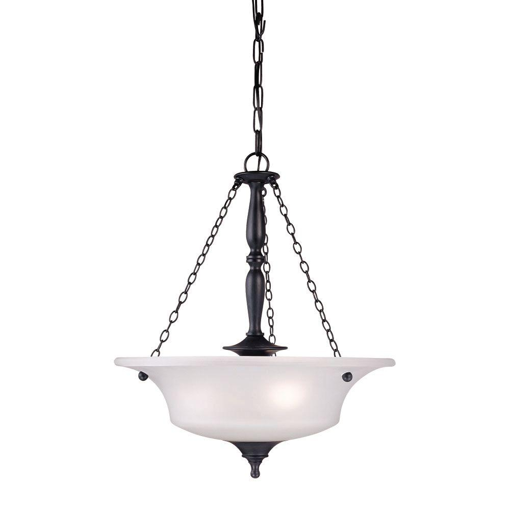Thomas Lighting Winston 3-Light Painted Bronze Pendant with Etched Glass Shade-DISCONTINUED