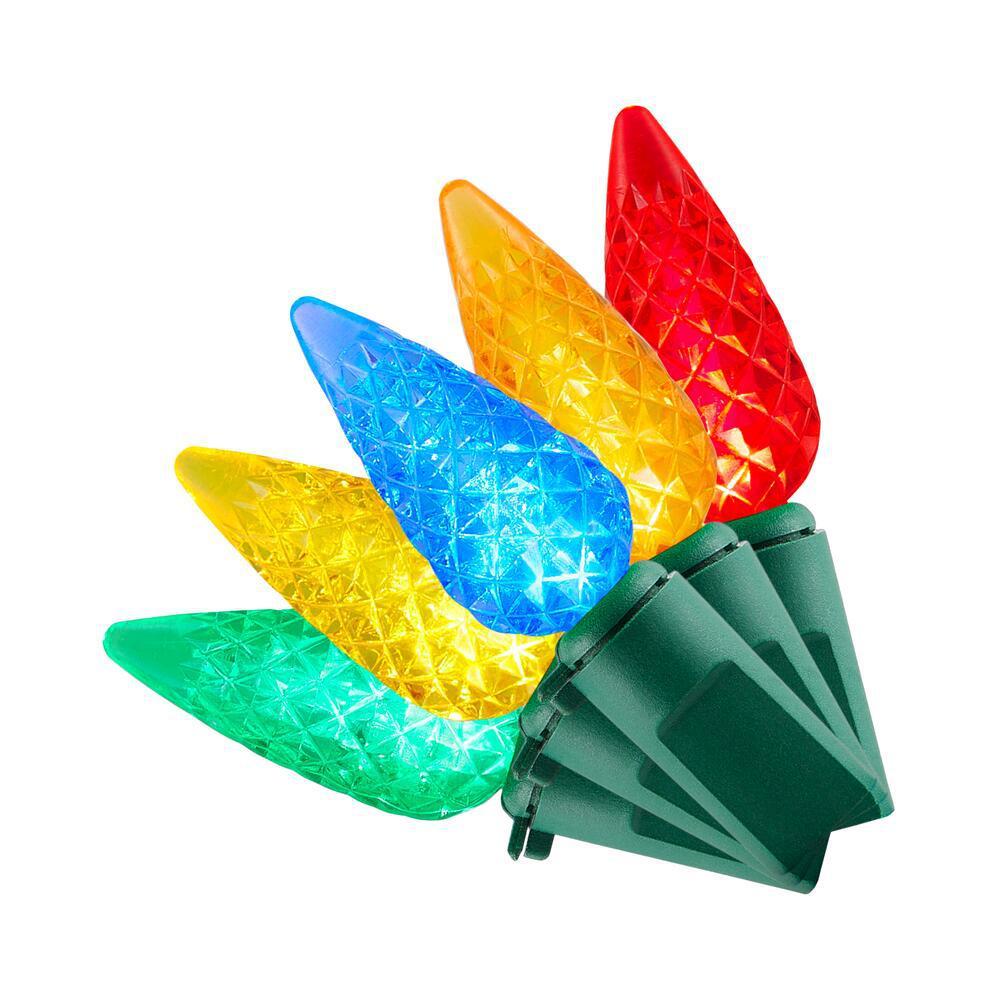 68 ft. 200-Light LED Multi-Color Faceted C6 Super Bright String Light