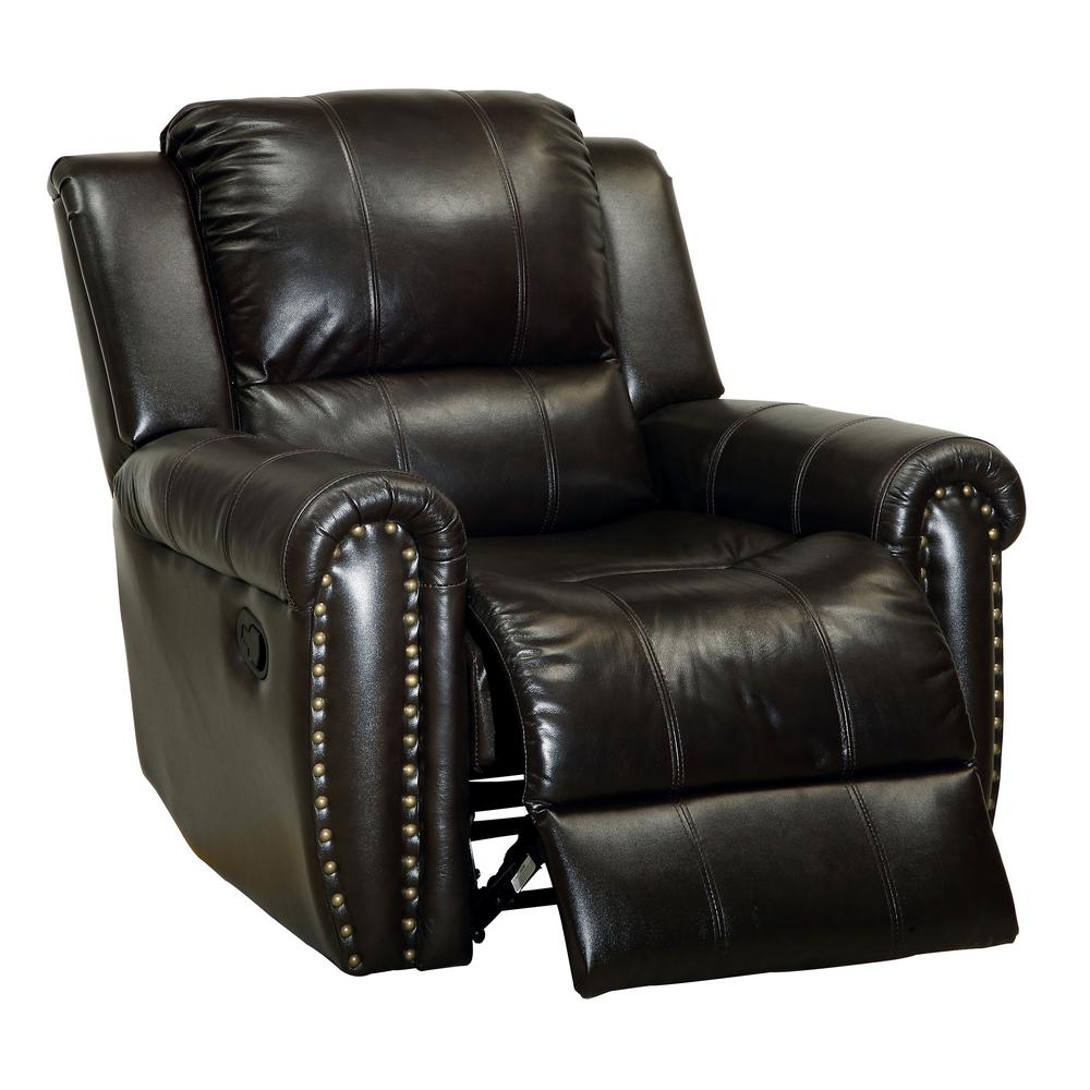 Furniture Of America Dark Brown Leatherette Recliner Chair