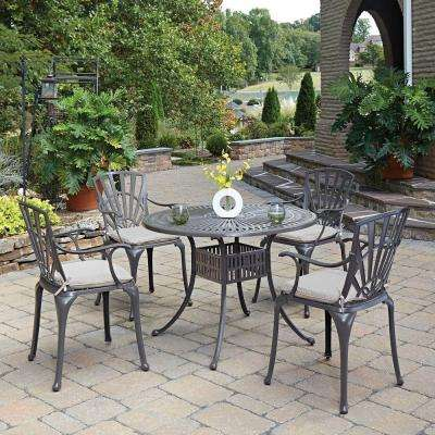 Largo Taupe 5-Piece All-Weather Patio Dining Set with Natural Cushion